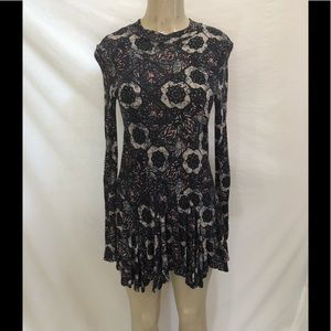 Free people fitted long sleeve open back dress M